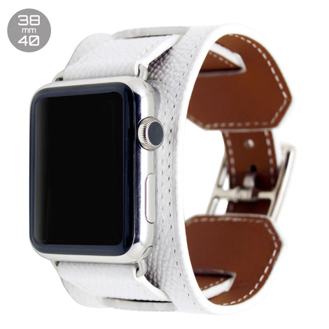 White Cuff Leather iWatch Band 38/40mm