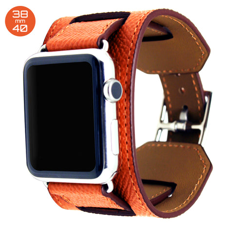 Orange Cuff Leather iWatch Band 38/40mm