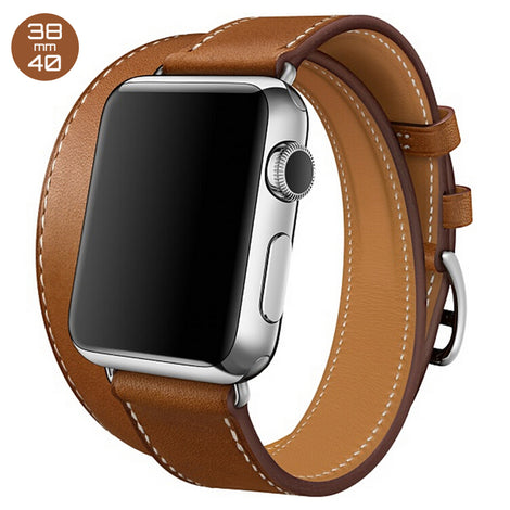 Brown Double Tour Leather iWatch Band 38/40mm