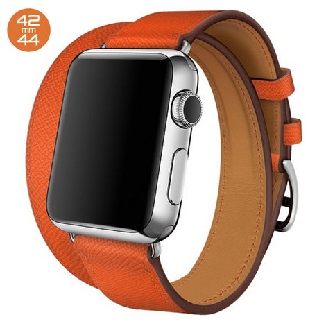 Orange Double Tour Leather iWatch Band 42/44mm