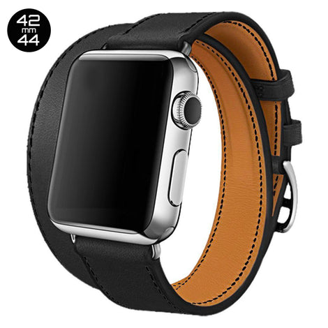 Black Double Tour Leather iWatch Band 42/44mm