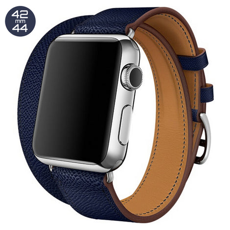 Dark Blue Double Tour Leather iWatch Band 42/44mm