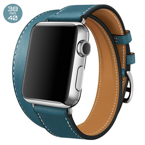 Light Blue Double Tour Leather iWatch Band 38/40mm