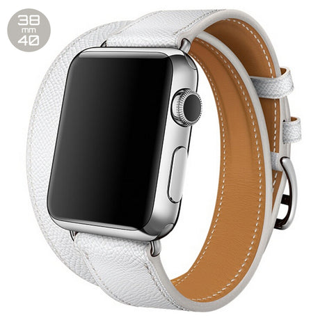 White Double Tour Leather iWatch Band 38/40mm