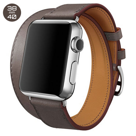 Dark Brown Double Tour Leather iWatch Band 38/40mm