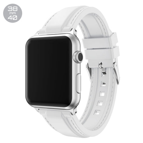 White Line Sewed Silicone iWatch Band 38/40mm