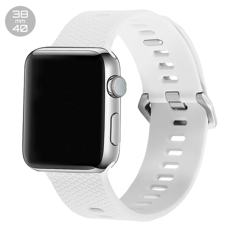 White Double Buckle Silicone iWatch Band 38/40mm