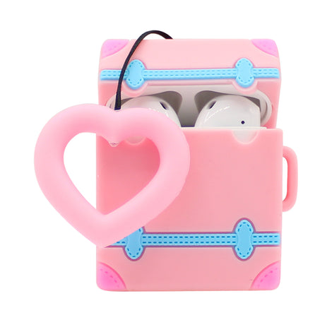 Pink Heart Suitcase AirPod Case