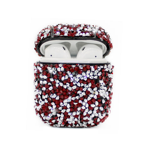 Dark Red Diamond Bling AirPod Case