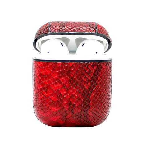 Red Snakeskin Leather AirPod Case