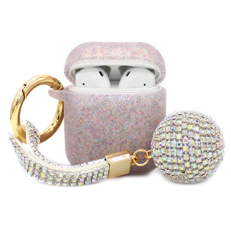 Silver Glitter Silicone with Diamond Keychain AirPod Case