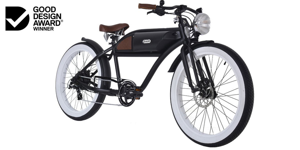Greaser Springer Retro Electric E-Bike (500W) Matte Black with Black Tank