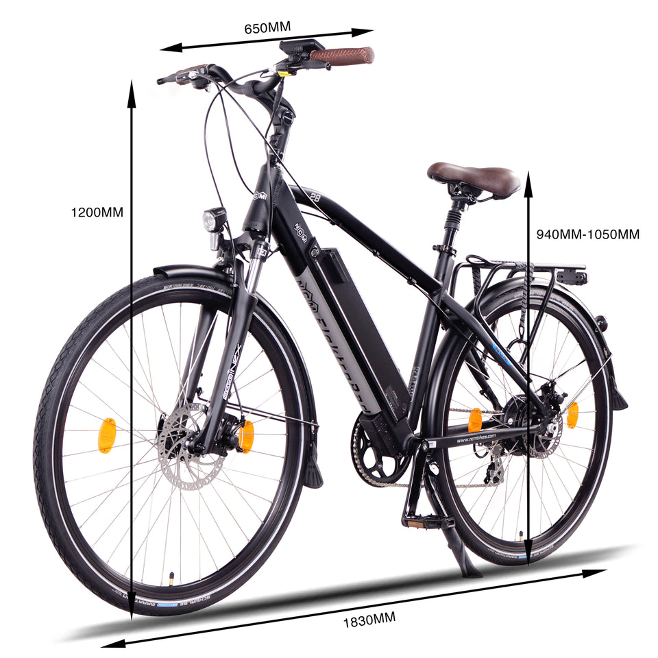 NCM Venice Trekking E-Bike, City-Bike, 250W, 48V 13Ah 624Wh Battery, [Black]
