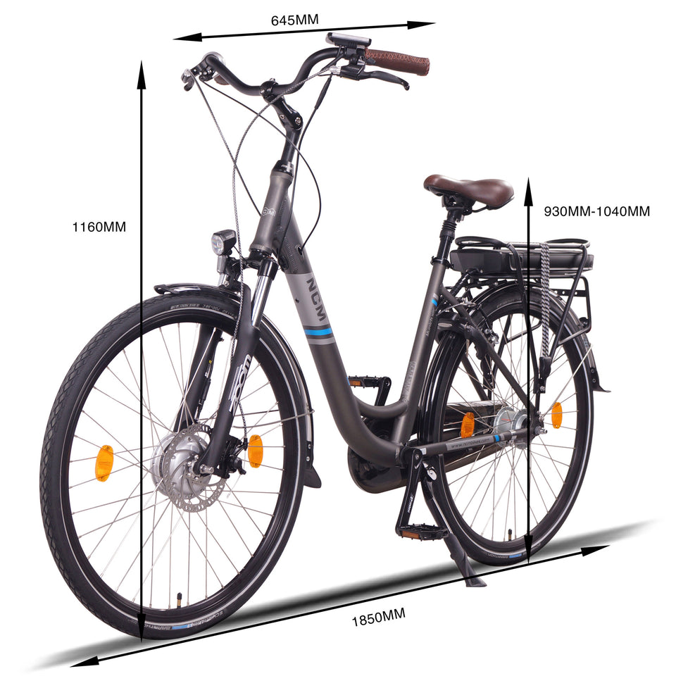 NCM Munich (N8C) [Grey 28] Electric Trekking Bike, E-Bike, E-Treking, 250W, 36V 13Ah 468W