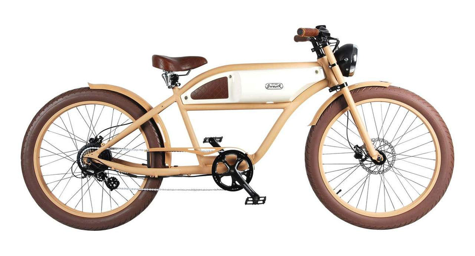 Greaser Retro Electric E-Bike (250W) / Sand with Beige Tank