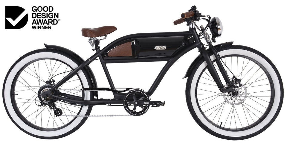 Greaser Springer Retro Electric E-Bike (250W) Black with Black Tank