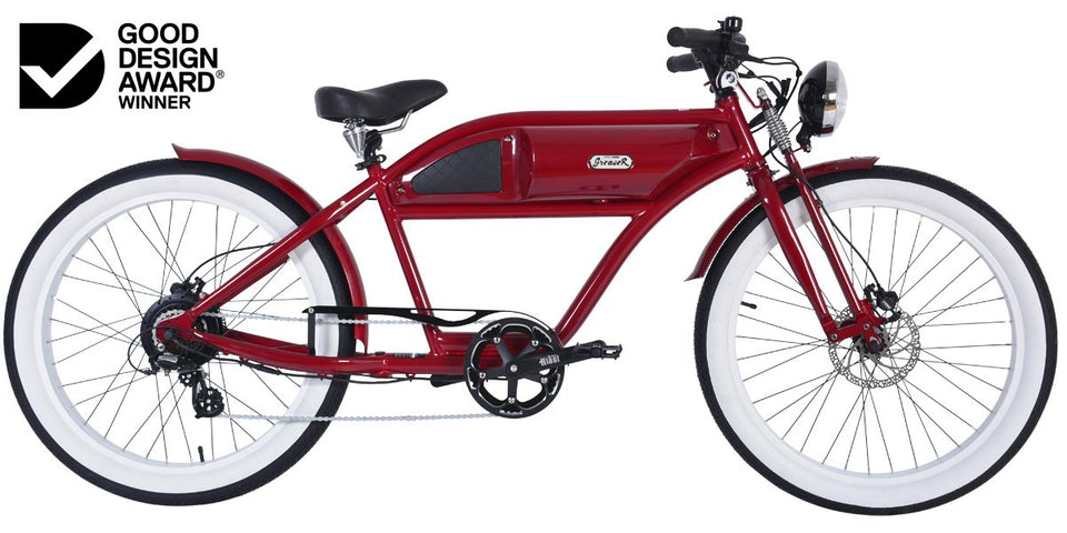 Greaser Springer Retro Electric E-Bike (250W) Red with Black Tank