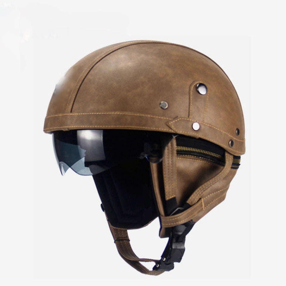 Rayvolt Cruzer 1/2 Face Leather Helmet