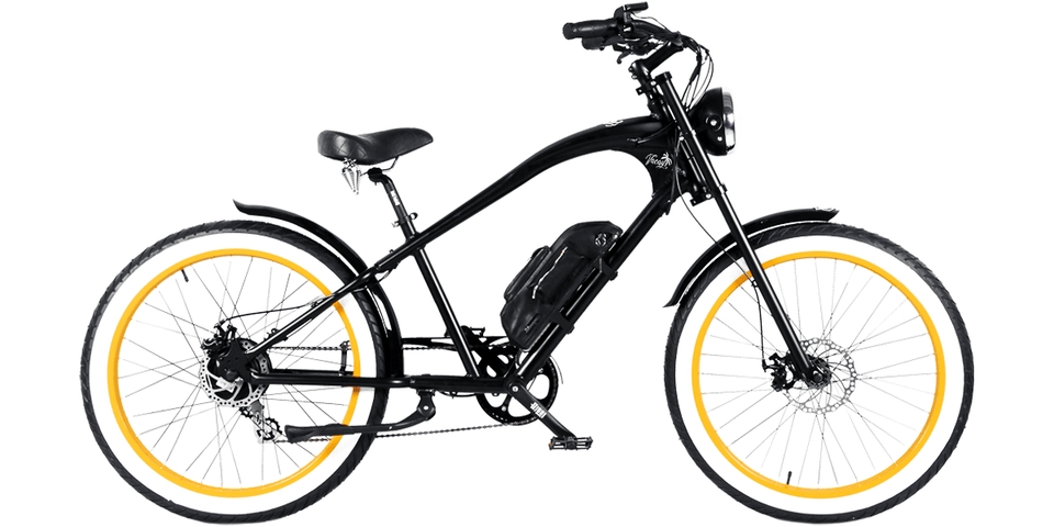 Vacay Electric E-Bike (250W) Black with Orange Wheels