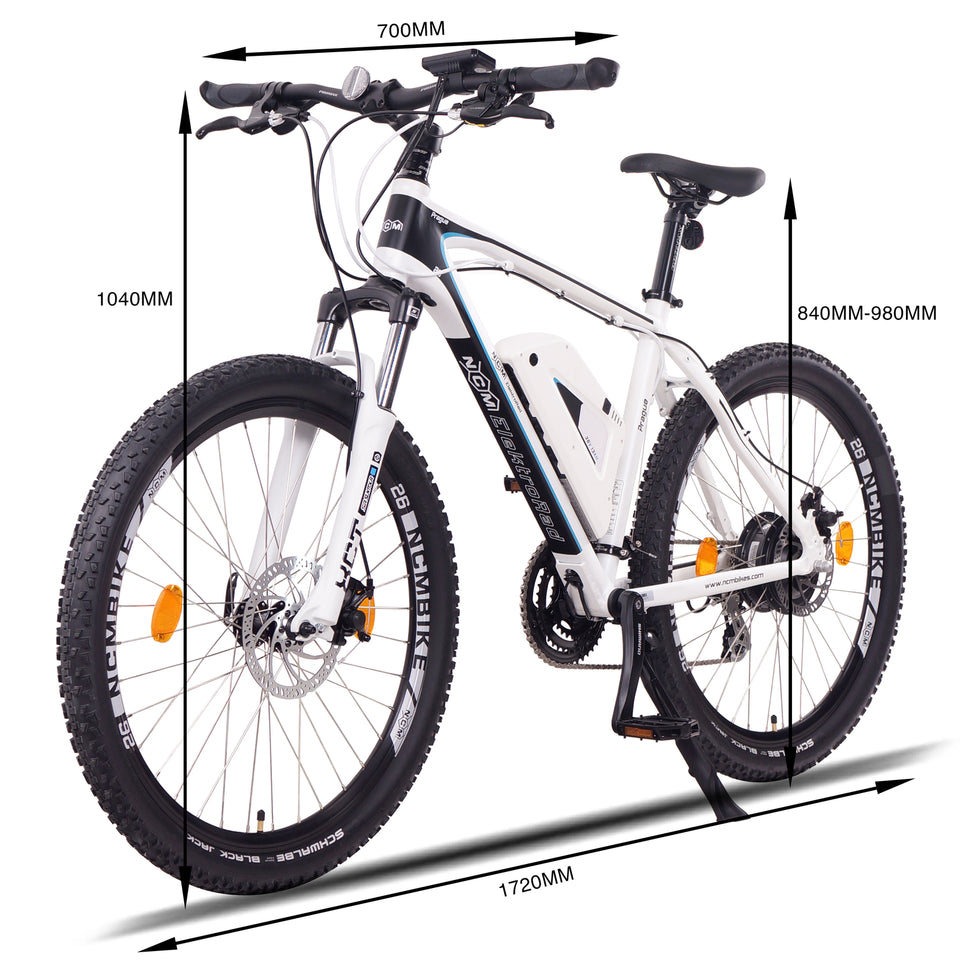 "NCM Prague Electric Mountain Bike, E-Bike, E-MTB, 250W, 36V 13Ah 468Wh Battery [White 26""]"