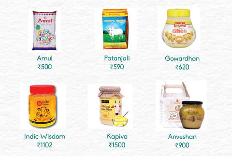 All ghee brands with pricing