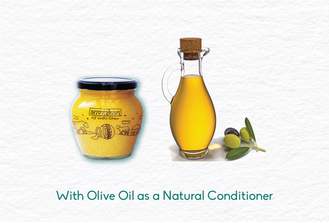 ghee as a conditioner, ghee with olive oil