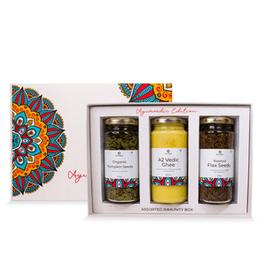 Anveshan Assorted Immunity Gift Box (Combo of A2 Vedic Ghee, Roasted Flaxseeds and Pumpkin Seeds) - Anveshan Farm