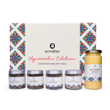 Load image into Gallery viewer, Anveshan Assorted Immunity Gift Box (Combo of A2 Vedic Ghee, Chia, Sunflower, Roasted Pumpkin and Roasted Flax Seeds) - Anveshan Farm