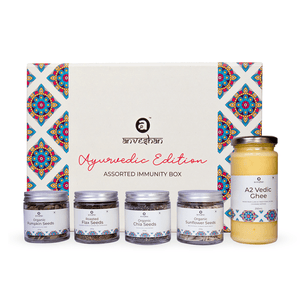 Anveshan Assorted Immunity Gift Box (Combo of A2 Vedic Ghee, Chia, Sunflower, Roasted Pumpkin and Roasted Flax Seeds) - Anveshan Farm