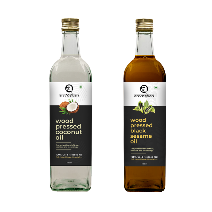 Combo of Wood Pressed Black Sesame and Coconut Oil 1L Each - Anveshan Farm