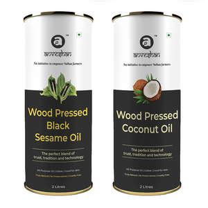 Combo of Wood Pressed Black Sesame and Coconut Oil 2L Each - Anveshan Farm