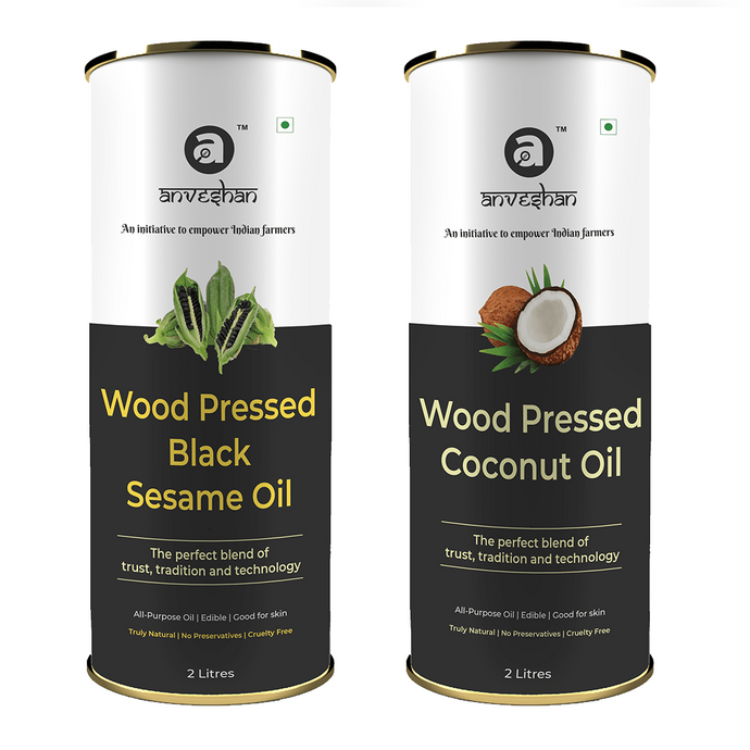 Combo of Wood Pressed Black Sesame and Coconut Oil 2L Each
