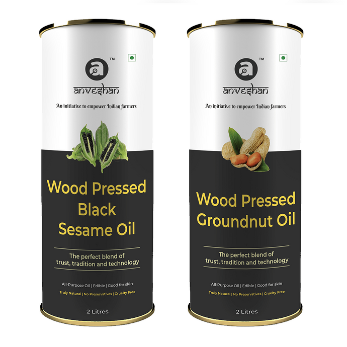 Combo of Wood Pressed Black Sesame and Groundnut Oil 2L Each - Anveshan Farm