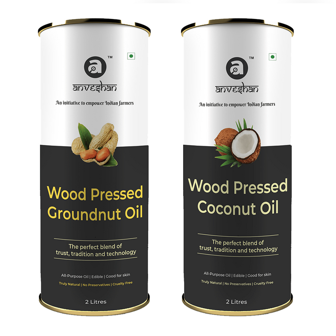 Combo of Wood Pressed Coconut and Groundnut Oil 2L Each