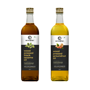 Combo of Wood Pressed Black Sesame and Groundnut Oil 1L Each - Anveshan Farm