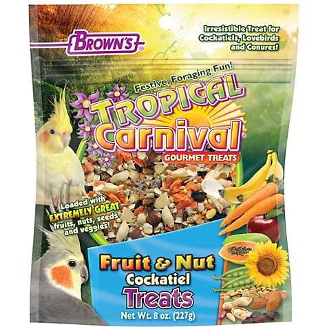 Tropical Carnival Fruit And Nut Treats For Cockatiels, Love Birds, And Conures