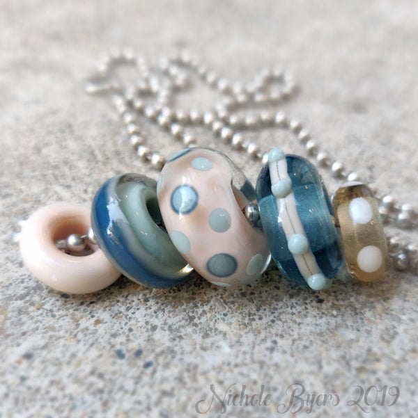 Beach Party - Sand & Surf Big Hole Beads (Set of 5)