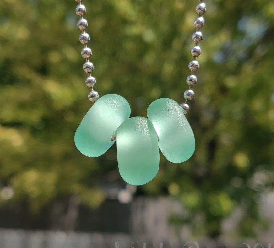 Beachy Glass - Pale Emerald Lampwork Beads (big hole)