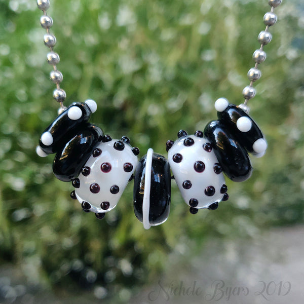 Black and White Big Hole Beads (Set of 7)