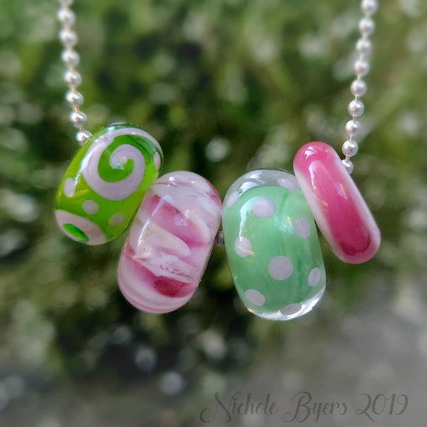 Preppy Green and Pink Big Hole Beads (Set of 4)