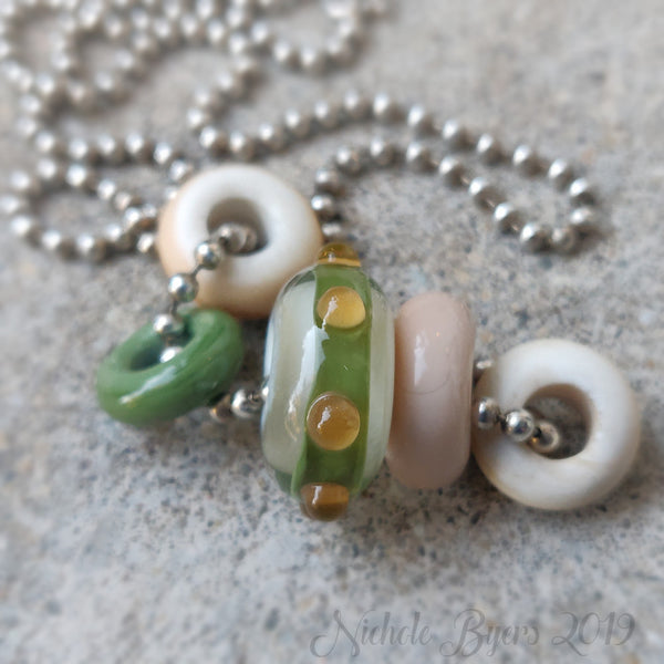 Green and Ivory Big Hole Beads (Set of 5)