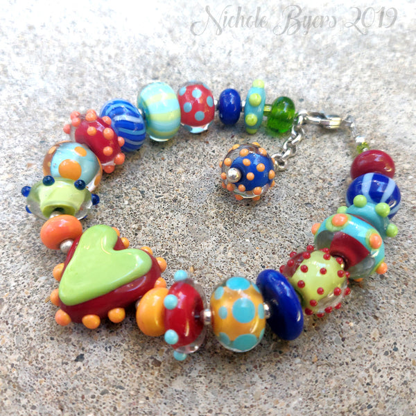 You've Got Heart - Artisan Lampwork Heart Bracelet