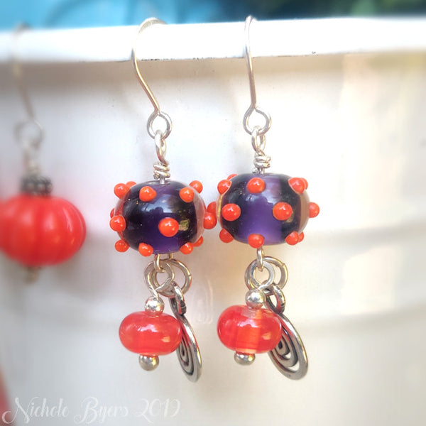 Purple and Orange Autumn Earrings
