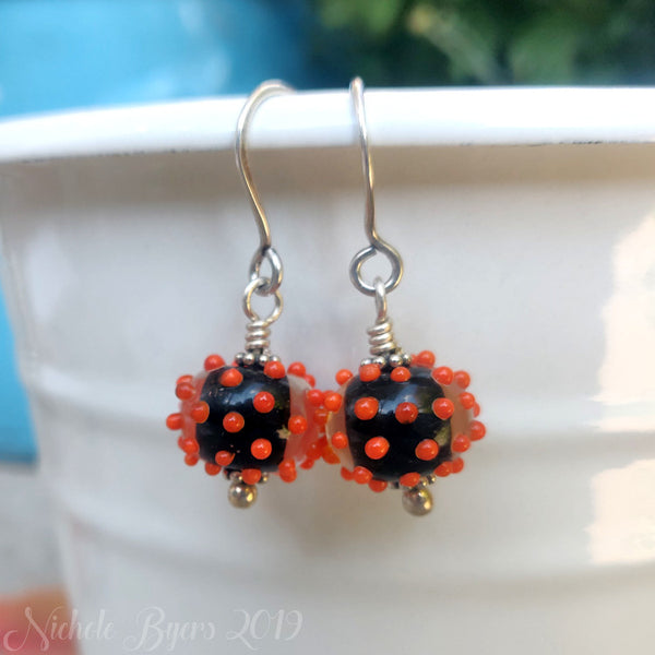 Handcrafted Black and Orange Halloween Earrings