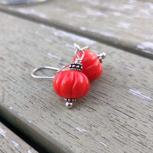 Orange Pumpkin Autumn Earrings