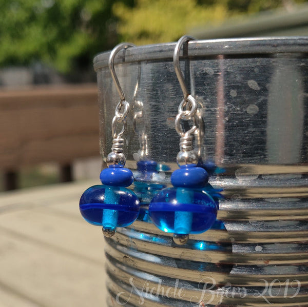 Pool Party - Blue Dangle Earrings