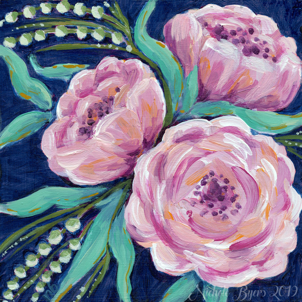 Art Print - Pink Flowers on Dark Blue