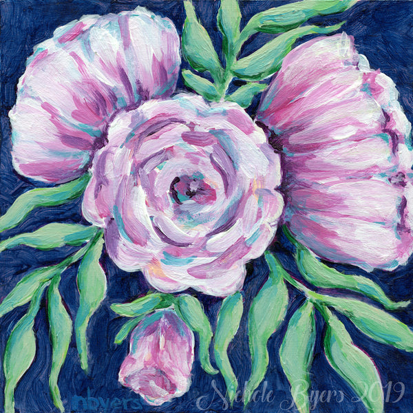 Art Print - Pale Violet Flowers on Dark Blue