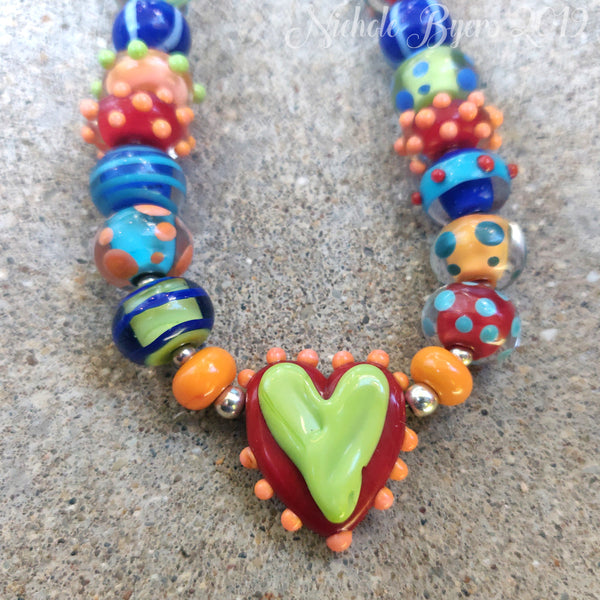 You've Got Heart - One of a Kind Artisan Lampwork Statement Necklace