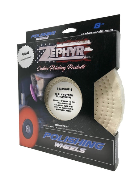 "Zephyr Cotton Muslin 40 Ply 3/8"" Stitching Buffing Wheel"